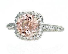 14K Morganite Engagement Ring Diamond Halo Setting by RareEarth, $1976.00