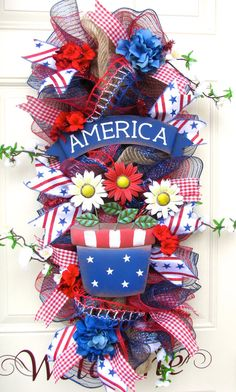 Flower Pot 4th of July Patriotic Red White and by NicoleDCreations, $134.99