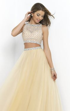 Style :Two Pieces Formal Dress - Hemline/Train: Floor-Length - Fabric: Tulle / Chiffon - Trends: Chiffon Backless Crystal/Beading - Back Design: Hollow - Silhouette: A-Line - Trend : Modern Classic Vi Two Piece Formal Dresses, Two Piece Dress, Cute Prom Dresses, Dance Dresses, Quinceanera Dresses, Two Pieces, Ball Gowns, Evening Dresses, Fashion Dresses