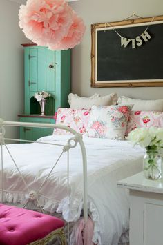 white vintage bedroom with color accents
