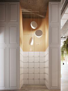 Littlēs on Behance Office Lockers, Locker Designs, Mail Room, Interior Architecture, Interior Design, Clinic Design, Office Workspace, Office Spaces, Co Working