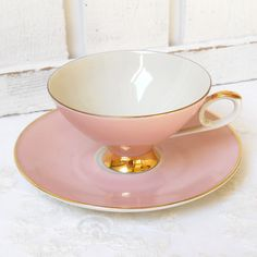 Antique Tea Cups For Sale | SALE pink vintage tea cup porcelain teacup and saucer pink gold cup ...