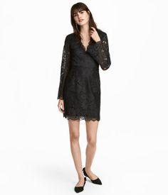 V-ringad spetsklänning | Svart | DAM | H&M SE