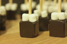 Ready-to-mix portable hot-chocolate sticks, complete with mini-marshmallows. Just dip in hot milk and stir!