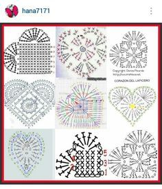 Instagram @hana7171 - crochet hearts pattern diagrams