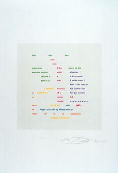 """garadinervi: """" Augusto De Campos, Dias dias dias, Silkscreen on cardboard, from Poesia concreta in Brasile, Edited by Archivio della Grazia di Nuova Scrittura, Milano, 1991 """""""