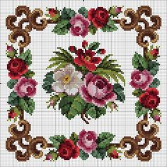 Garland of roses, lilies, forget-me-not and wistaria embroidery design, century Cross Stitch Pillow, Cross Stitch Borders, Cross Stitch Rose, Cross Stitch Flowers, Cross Stitch Charts, Cross Stitch Designs, Cross Stitching, Cross Stitch Embroidery, Cross Stitch Patterns