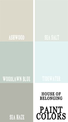 for the bathroom-- I think these are Sherwin Williams.and I like a lot of them. Sea Salt for the Master? Woodlawn Blue for the Master Bath? Sea Haze for the Powder Room? And look at blending Ashwood with something else for our plaster walls? Interior Paint Colors, Paint Colors For Home, House Colors, Paint Colours, Wall Colors, Coordinating Paint Colors, Woodlawn Blue, Moraira, Do It Yourself Furniture
