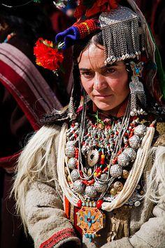 Dah-Hanu Woman in Traditional Costume, Ladakh Annual Festival 2008, Leh, Ladakh, Jammu and Kashmir, India