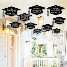 Graduation – Outdoor Porch & Tree Yard Decorations – Tassel Worth The Hassle – Silver Hanging Tree and Outdoor Decor – Grad Decor – 10 Pc. - Decoration For Home Outdoor Graduation Parties, College Graduation Parties, Graduation Party Supplies, Graduation Celebration, Graduation Decorations, Grad Parties, Yard Decorations, Graduation Ideas, Graduation Pictures