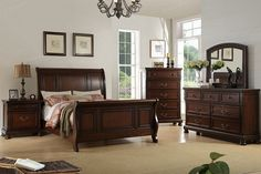 5 pc alician II brown cherry finish wood queen curved back headboard sleigh bed set. This set includes the bed, one nightstand, Dresser, Mirror and chest. Queen bed measures H HB , FB. Queen Bedroom, Queen Beds, Bedroom Sets, Master Bedroom, Bedrooms, Wood Platform Bed, Upholstered Platform Bed, Wood Bedroom, Bedroom Furniture