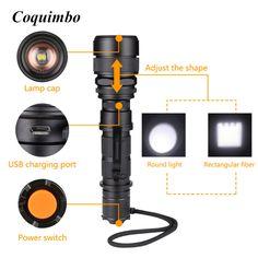 Coquimbo LED Flashlight Lanterna de led linternas torch 3800LM Aluminum Waterproof Zoomable flashlight led light lantern 2017 #Affiliate