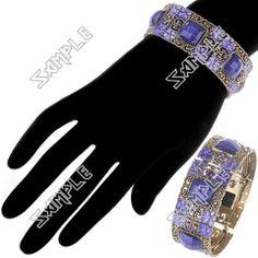 Metal Bracelet Bangle Cuff with Rhinestone Metal Bracelets, Bangle Bracelets, Bangles, Flower Patterns, Jewelry Collection, Women Jewelry, Stylish, Lady, Color
