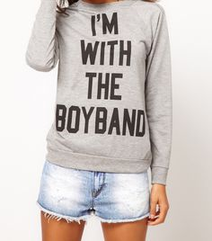 Browse online for the newest ASOS PETITE Exclusive I'm With The Boyband Sweat styles. Looks Style, Style Me, Asos Petite, 1d And 5sos, New Kids, Mode Style, Graphic Sweatshirt, T Shirt, Dress To Impress
