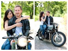 Sure glad that my future husband loves bikes (: Motorcycle Engagement Photos, Motorcycle Couple Pictures, Engagement Couple, Engagement Pictures, Engagement Session, Bike Photography, Couple Photography Poses, Engagement Photography, Engagement Photo Inspiration