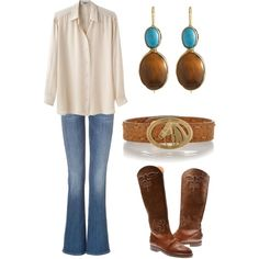 Horse Head Belt, Cowboy Boots, Boot Cut Jeans & Turquoise Jewellery