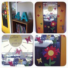 Start van een nieuw schooljaar   alle namen van de kinderen op deur   vlinders   welkom in groep 4a!  