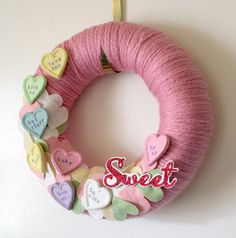 Candy Hearts Wreath Felt and Yarn Wreath by TheBakersDaughter, $42.00