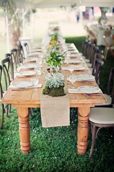 Simple, rustic reception table … #Rustic #Country #Wedding ideas for brides, grooms, parents & planners https://itunes.apple.com/us/app/the-gold-wedding-planner/id498112599?ls=1=8 … plus how to organise an entire wedding, within ANY budget ♥ The Gold Wedding Planner iPhone App ♥  http://pinterest.com/groomsandbrides/boards/  For more #Wedding #Ideas & #Budget #Options ... #Twine #Twigs #Burlap #Woodlands