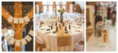 burlap runners and sticks with flower centerpieces
