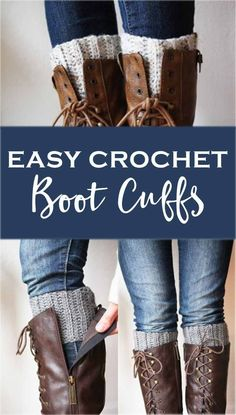 Crochet Iphone How to crochet boot cuffs! Free pattern and tutorial. - Keep warm (and stylish) with these cute and easy crocheted boot cuffs. A great beginner crochet project and also a great way to use up some extra yarn. Guêtres Au Crochet, Bonnet Crochet, Crochet Boots, Knit Boots, Crochet Mittens, Crochet Slippers, Knitting Socks, Easy Crochet, Crochet Ideas