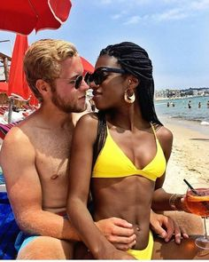 A young swirl couple enjoying the beach together - a black woman with a white man - #swirlcouple #bwwm #wmbw #interracial
