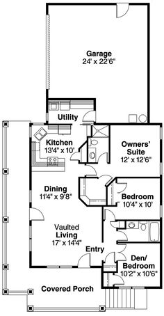 House Floor Plans 3 Bedroom 2 Bath floor plan for a small house 1,150 sf with 3 bedrooms and 2 baths