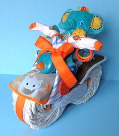 Boy Diaper Motorcycle Boy Diaper Cake by PamperedBabyCreation, $60.00