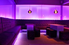 Architecture & Design | Surelight.com LED Flexible Strip highlights the lush alcove seating in Studio 557 Bar and Grill, colour changing LED strips back-light the frosted glass walls throughout the whole building.