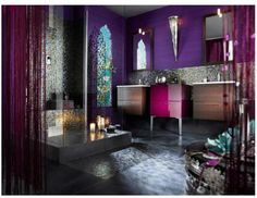 Dark purple and iridescent mosaic tiles
