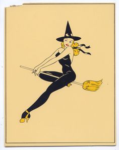 1947 Calendar Girl Pin-Up Cheesecake Art Beautiful Long Legged Blue eyed Blonde Witch on a Broom Halloween Witches Hat