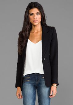 Smythe Hourglass Blazer in Black the proportion of this looks right for me...love the wide/high lapel and longer body length