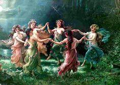 Noite de magia e encantos. Noite de dança ao luar. Bruxas da noite.