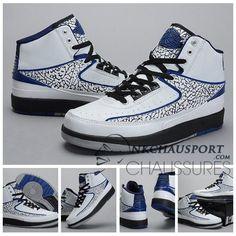 Nike Air Jordan 2 | Classique Chaussure De Basket Homme Blanche Noir