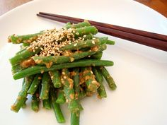 Japanese Beans With Sesame And Miso Dressing Japanese Teriyaki, Japanese Chicken, Japanese Sesame Dressing Recipe, Easy Soup Recipes, Cooking Recipes, Beef Tataki, Fine Beans, Miso Dressing, Teriyaki Salmon