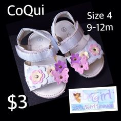 CoQui Size 4 (9-12m) Baby Girl Flower & Butterfly Sandals GUC $3 Buy this product right on Facebook https://admin.shoptab.net/linkbacks/222259223 Only ONE Available in Size Shown! FREE SHIPPING w/purchase of 5/items. CC, Debit & PayPal Welcome. Pick up LOCAL in La Marque Like our Facebook Page https://www.Facebook.com/GalvestonCountyBabyGirlHeaven