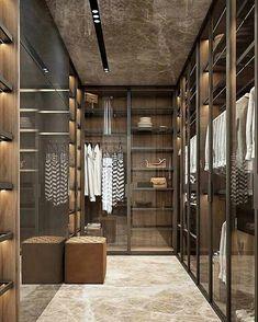 Modern Glass   Wood Closets Design