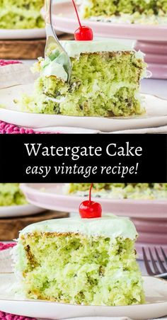 Watergate cake is a classic dessert from the 1970s. It's made with a box of white cake mix, instant pistachio pudding mix, coconut, and pecans. It's a delicious and simple recipe that's really easy to make; the cake layers turn out soft, moist, and delicious every time! This simple cake is perfect for parties! And the fun green color makes this a perfect St. Patrick's Day dessert or Christmas dessert! Homemade Cake Recipes, Cake Mix Recipes, Cupcake Recipes, Cupcake Cakes, Dessert Recipes, Cupcakes, Cocktail Desserts, Christmas Desserts, White Cake Box Recipe