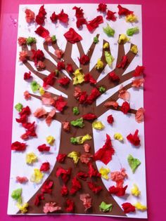 Fall tree with tissue paper  Good activity for children of different ages.  Older ones can crumple their own paper, then glue.  Younger ones can glue on the paper already crumpled for them by staff.