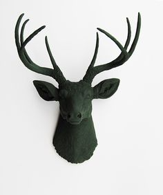 Forest green faux deer head wall mount is a true charmer. Resin stag animal head decor and wall art by White Faux Taxidermy ®. Shop the perfect Sculpture Now! Animal Head Decor, Deer Head Decor, Stag Animal, Animal Heads, White Deer Heads, Faux Deer Head, Stag Deer, Deer Antlers, Faux Taxidermy