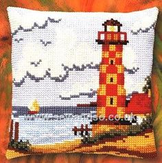 Buy Lighthouse Cushion Front Chunky Cross Stitch Kit Online at www.sewandso.co.uk