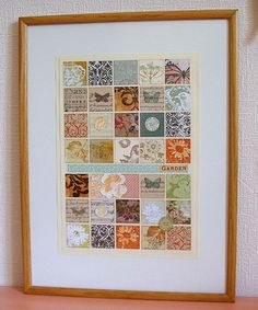 this is a great idea fr Jacqueline to display art in your home with all those left over scraps! it is like a mini quilt....love it