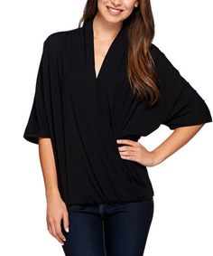 Loving this Black Draped Dolman Top - Plus Too on #zulily! #zulilyfinds