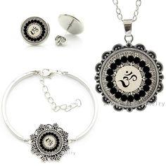 Vintage Yoga Buddhist om symbol cheap fashion indian turkish dubai jewellery sets necklace earrings bracelets jewelry set HT030 #Affiliate