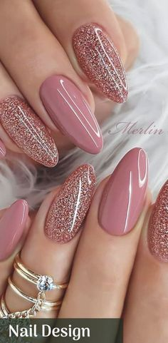 Cute Nails, Pretty Nails, Bride Nails, Wedding Nails, Fall Nail Designs, Valentine Nail Designs, Sparkly Nail Designs, Sparkly Nails, Glitter Nails