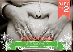 Digital Christmas Pregnancy Announcement by LCODesignandPaperie, $10.00 | pregnancy reveal, winter pregnancy announcement, snowflake card, pregnancy card, holiday announcement