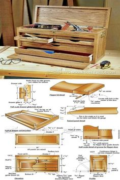 Tool Chest Plans - Workshop Solutions Projects, Tips and Tricks Tool Chest Plans - Workshop Solutions Projects, Tips and Tricks Old Tool Boxes, Wood Tool Box, Wooden Tool Boxes, Wood Tools, Tool Box Diy, Atelier Creation, Rustic Wooden Box, Diy Workbench, Tool Sheds