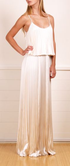 Plissé two-tier silk maxi dress