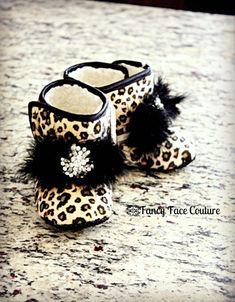 leopard baby booties