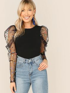 To find out about the Dot Mesh Gigot Sleeve Skinny Tee at SHEIN, part of our latest T-Shirts ready to shop online today! Leg Of Mutton Sleeve, Grey Skinny Jeans, Fashion Outfits, Womens Fashion, Fashion Fashion, Fashion Ideas, Vintage Fashion, Pulls, Types Of Sleeves